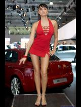 "Photo of publication ""Moscow Motor Show 2008 - Dance, Nastya"", author Эдуард@fotovzglyad, Tags: [exhibitions, Moscow International Motor Show, red dress, exhibitions in 2008, dress very short (mini-dress), events, Go-Go dancing, car show]"