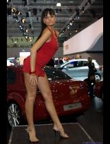 """Photo of publication """"Moscow Motor Show 2008 - Dance, Nastya"""", author Эдуард@fotovzglyad, Tags: [Exhibition, Moscow International Motor Show, Exhibition 2008, events, Dress is very short( mini-dress), Go-go dancing, Red dress]"""