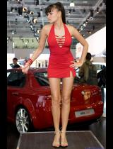 "Photo of publication ""Moscow Motor Show 2008 - Dance, Nastya"", author Эдуард@fotovzglyad, Tags: [exhibitions, Moscow International Motor Show, exhibitions in 2008, events, dress very short (mini-dress), Go-go dancing, red dress]"