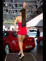 """Photo of publication """"Moscow Motor Show 2008 - Dance, Nastya"""", author Эдуард@fotovzglyad, Tags: [exhibitions, Moscow International Motor Show, red dress, exhibitions in 2008, dress very short (mini-dress), events, Go-Go dancing, car show]"""