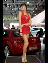 """Photo of publication """"Moscow Motor Show 2008 - Dance, Nastya"""", author Эдуард@fotovzglyad, Tags: [exhibitions, Moscow International Motor Show, exhibitions in 2008, events, dress very short (mini-dress), Go-go dancing, red dress]"""