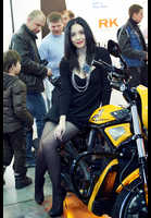 """Photo of publication """"Motopark-12. Black mini"""", author Эдуард@fotovzglyad, Tags: [exhibitions, Motor Park, exhibitions in 2012, events, black tights (pantyhose), black dress, short dress, motorcycle (bike)]"""