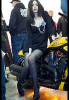 """Photo of publication """"Motopark-12. Black mini"""", author Эдуард@fotovzglyad, Tags: [exhibitions, Motor Park, exhibitions in 2012, events, black tights (pantyhose), black dress, short dress, motorcycle (bike), car show]"""
