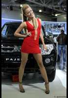 "Photo of publication ""MMAS'12 : girls mitsubishi- 4"", author meovoto, Tags: [exhibitions, Moscow International Motor Show, exhibitions in 2012, red dress, short dress, cleavage, sandals, heels, car, events, Mitsubishi girls]"