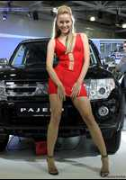 """Photo of publication """"MMAS'12 : girls mitsubishi- 4"""", author meovoto, Tags: [exhibitions, Moscow International Motor Show, exhibitions in 2012, red dress, short dress, cleavage, sandals, heels, car, events, Mitsubishi girls]"""