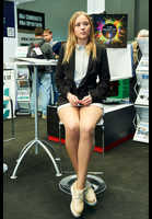 "Photo of publication ""Photoforum-17. Kaleidoscope Part 2"", author Эдуард@fotovzglyad, Tags: [exhibitions, PhotoForum, events, exhibitions in 2017, pantyhose (tights) skin color, pantyhose (tights) sheer, transparent, white skirt, skirt , very short, black jacket/blazer]"