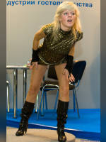 """photo from the publication """"PIR.The hospitality industry"""", author Эдуард@fotovzglyad, Tags: [exhibitions, heels, boots below the knee, black boots, events of 2008, dancing, dress green, dress, dress very short (mini-dress), Feast, hospitality industry, dress fitting, tight, slinky, events]"""