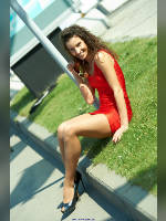 """photo from the publication """"CTT-12. Vera."""", author Эдуард@fotovzglyad, Tags: [exhibitions, pantyhose (tights) skin color, short dress, shoes black, heels, red dress, brunette, pantyhose (tights) with glitter, Construction Equipment and Technologies (CTT), Veronica (Vera) Boyprav, long legs, events, polished toenails, pedicure, polished toenails, pedicure, polished nails, manicure, polished nails, manicure, pantyhose (tights) sheer, transparent]"""