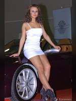"""photo from the publication """"TUNING SHOU'12 : Lady in white_2"""", author meovoto, Tags: [exhibitions, pantyhose (tights) skin color, Moscow Tuning Show, dress white, events of 2012, car, dress very short (mini-dress), events, bare shoulders, car show]"""