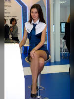 """photo from the publication """"Natalia on the stand Compulink"""", author Эдуард@fotovzglyad, Tags: [exhibitions, pantyhose (tights) skin color, pantyhose (tights) skin color, Moscow, Russia, events of 2009, CSTB, sitting legs crossed, sitting behind the counter, sitting, Natalya (Natasha) Avershina, events, pantyhose (tights) sheer, transparent]"""