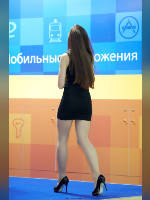 """photo from the publication """"RIW- 12. Black mini."""", author Эдуард@fotovzglyad, Tags: [exhibitions, pantyhose (tights) skin color, shoes black, events of 2012, brunette, black dress, Russian Internet Week (RIW), pantyhose (tights) with glitter, long legs, dress very short (mini-dress), events, pantyhose (tights) sheer, transparent, stiletto heels]"""