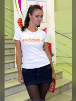 """photo from the publication """"Rosiyskoy week interneta'2009 - Vera and Inna"""", author Эдуард@fotovzglyad, Tags: [exhibitions, pantyhose (tights) black, brunette, the skirt is very short, Russian Internet Week (RIW), jean skirt, skirt blue, t-shirt white, short skirt (miniskirt), pantyhose (tights) opaque, Inna Sysoev, events]"""