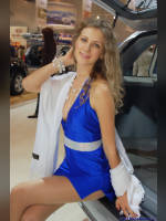 """photo from the publication """"Kate on the stand Hyundai"""", author Владимир, Tags: [exhibitions, pantyhose (tights) skin color, cleavage, dress light-blue, Interauto and MIMS, blonde, events of 2007, events, girls Hyundai, polished nails, manicure, red lips, pantyhose (tights) sheer, transparent, car show]"""