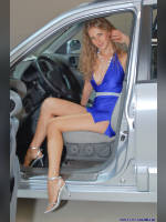 """photo from the publication """"Kate on the stand Hyundai"""", author Владимир, Tags: [exhibitions, short dress, cleavage, dress light-blue, car, Interauto and MIMS, blonde, dress blue, events of 2007, events, girls Hyundai, polished nails, manicure, red lips, car show]"""