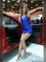 "photo from the publication ""Natasha 1"", author Санек, Tags: [exhibitions, pantyhose (tights) skin color, short dress, heels, car, Interauto and MIMS, blonde, dress blue, sandals, pantyhose (tights) with glitter, events of 2007, long legs, Natalya (Natasha) Maksyukova, events, girls Hyundai, lipstick, pantyhose (tights) sheer, transparent, car show]"