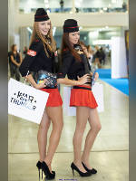 """photo from the publication """"Igromir-12. Red skirt."""", author Эдуард@fotovzglyad, Tags: [exhibitions, pantyhose (tights) skin color, shoes black, IgroMir, events of 2012, forage-cap, the skirt is very short, red skirt, corset, high heels, events, ]"""