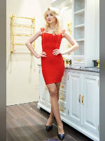 """photo from the publication """"MosBuild-17. Yuliya."""", author Эдуард@fotovzglyad, Tags: [exhibitions, pantyhose (tights) skin color, short dress, shoes black, red dress, standing cross-legged, blonde, MosBuild, Julia Korf, high heels, events, pantyhose (tights) sheer, transparent, events of 2017]"""