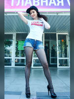 """photo from the publication """"VAPEXPO- 2016 Moscow. Anna."""", author Эдуард@fotovzglyad, Tags: [exhibitions, pantyhose (tights) black, short shorts, shoes black, denim shorts, brunette, t-shirt white, high heels, events, events of 2016, , Anastasia (Nastya) Kuvshina]"""