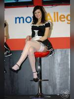"""photo from the publication """"Magda and Ania from MotocyklExpo"""", author Artur, Tags: [exhibitions, stockings white, stocking tops visible, , Warsaw, uniform, events, car show, ]"""