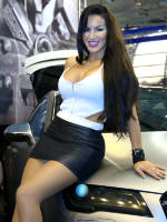 """photo from the publication """"Essen Motorshow 2014 - Jeanette Plug"""", author Klaus, Tags: [exhibitions, pantyhose (tights) skin color, cleavage, the skirt is very short, black skirt, Germany, portrait, events, Essen, , car show]"""