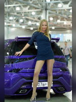 """photo from the publication """"Tuning 12. Alexandra."""", author Эдуард@fotovzglyad, Tags: [exhibitions, pantyhose (tights) skin color, Moscow Tuning Show, short dress, heels, events of 2012, car, dress blue, gray shoes, long legs, events, Alexandra (Sasha) Volkova, car show]"""