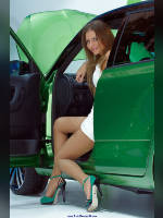 """photo from the publication """"MMAS-10. Skoda. Oksana."""", author Эдуард@fotovzglyad, Tags: [exhibitions, pantyhose (tights) skin color, heels, dress white, Moscow International Motor Show, car, sandals, events of 2010, dress very short (mini-dress), high heels, Xenia (Oksana) Orlova, events, pantyhose (tights) sheer, transparent, girls Skoda, car show]"""