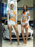 """photo from the publication """"MMAS-10. Hankook."""", author Эдуард@fotovzglyad, Tags: [exhibitions, pantyhose (tights) skin color, heels, Moscow International Motor Show, shoes white, car, blonde, the skirt is very short, events of 2010, Catherine (Kate) Sablina, skirt white, Maria (Masha) Maksimkina, events, car show]"""