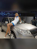 """photo from the publication """"MMAS-10. Subaru."""", author Эдуард@fotovzglyad, Tags: [exhibitions, Moscow International Motor Show, car, events of 2010, naked legs, dress very short (mini-dress), dress fitting, tight, slinky, events, Alla Povashevich, Subaru girls, sitting on the hood, car show]"""