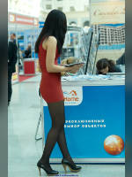 """photo from the publication """"DOMEXPO-10. Dream home. part 2"""", author Эдуард@fotovzglyad, Tags: [exhibitions, pantyhose (tights) black, red dress, events of 2010, DomExpo, dress very short (mini-dress), dress fitting, tight, slinky, events]"""