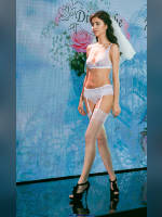 """photo from the publication """"Lingerie show"""", author Сергей, Tags: [exhibitions, shoes black, heels, the bride, stockings white, bra white, white panties, in lingerie, , stockings with belt, events, events of 2016, strappy heels]"""