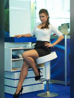 """photo from the publication """" """"Russian Gaming Week 2012. Marusya."""", author Эдуард@fotovzglyad, Tags: [exhibitions, pantyhose (tights) skin color, shoes black, events of 2012, blouse white, brunette, pantyhose (tights) with glitter, , short skirt (miniskirt), lifting leg, long legs, events, polished nails, manicure, pantyhose (tights) sheer, transparent, pumps - suede/satin/velvet, stiletto heels]"""
