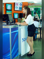 """photo from the publication """" """"Russian Gaming Week 2012. Marusya."""", author Эдуард@fotovzglyad, Tags: [exhibitions, pantyhose (tights) skin color, shoes black, events of 2012, blouse white, brunette, pantyhose (tights) with glitter, , short skirt (miniskirt), long legs, events, polished nails, manicure, pantyhose (tights) sheer, transparent, pumps - suede/satin/velvet, stiletto heels]"""