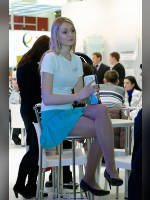"""photo from the publication """"Climate World-11. Nastya."""", author Эдуард@fotovzglyad, Tags: [exhibitions, pantyhose (tights) skin color, The World Climate, events of 2011, the skirt is very short, sitting legs crossed, sitting, events]"""