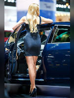 """photo from the publication """"MIAS-14. Julia-2."""", author Эдуард@fotovzglyad, Tags: [exhibitions, events of 2014, pantyhose (tights) skin color, shoes black, heels, Moscow International Motor Show, car, standing cross-legged, high heels, events, pantyhose (tights) sheer, transparent, stiletto heels, Julia Tymoshenko, car show]"""