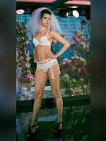 """photo from the publication """"Lingerie show"""", author Сергей, Tags: [exhibitions, shoes black, heels, the bride, bra white, white panties, in lingerie, , stockings with belt, camel toe, events, events of 2016, strappy heels]"""