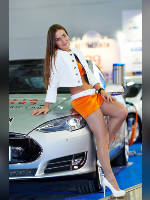 """photo from the publication """"MIAS-14. Kaleidoscope ch.16"""", author Эдуард@fotovzglyad, Tags: [exhibitions, events of 2014, pantyhose (tights) skin color, Moscow International Motor Show, car, the skirt is very short, yellow skirt, short skirt (miniskirt), lifting leg, shoes with an open toe, events, Alena Rus, car show]"""