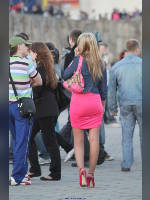 """photo from the publication """"Zelenograd. The girl in red....!"""", author ArtemSam, Tags: [pantyhose (tights) skin color, short dress, pink dress, shoes red, Russia, outdoor, pantyhose (tights) with glitter, Zelenograd, high heels, pantyhose (tights) sheer, transparent, stiletto heels]"""