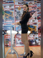 """photo from the publication """"Interauto 11. Margarita."""", author Эдуард@fotovzglyad, Tags: [exhibitions, pantyhose (tights) skin color, shoes black, cleavage, Interauto and MIMS, brunette, black dress, events of 2011, pantyhose (tights) with glitter, dress very short (mini-dress), events, red lips, pantyhose (tights) sheer, transparent, pumps - suede/satin/velvet, stiletto heels, car show]"""