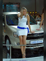 """photo from the publication """"Interauto 11. WHA."""", author Эдуард@fotovzglyad, Tags: [exhibitions, short dress, dress white, car, Interauto and MIMS, events of 2011, dress fitting, tight, slinky, events, girls AvtoVAZ, sitting on the hood, car show]"""