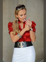 """photo from the publication """"Comtesse Monique"""", author Cannizzaro, Tags: [blonde, outdoor, skirt white, Staged photography]"""