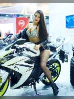 """photo from the publication """"Motovesna-2019. Kaleidoscope part 8"""", author Эдуард@fotovzglyad, Tags: [exhibitions, pantyhose (tights) fishnet black, shoes black, black shorts, tight shorts, brunette, platform heels, the shorts are very short, events, astride a motorcycle, Motovesna, car show, , events of 2019]"""