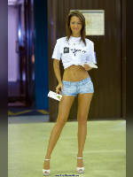 """photo from the publication """"Internet world-11. Ian."""", author Эдуард@fotovzglyad, Tags: [exhibitions, short shorts, denim shorts, shoes white, tight shorts, events of 2011, Russian Internet Week (RIW), naked legs, long legs, high heels, events, strappy heels]"""
