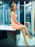 """photo from the publication """"MosBuild-17. Avelina."""", author Эдуард@fotovzglyad, Tags: [exhibitions, pantyhose (tights) skin color, MosBuild, sitting legs crossed, dress very short (mini-dress), dress fitting, tight, slinky, events, pantyhose (tights) sheer, transparent, events of 2017]"""