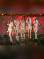 """photo from the publication """"Lingerie show"""", author Сергей, Tags: [exhibitions, shoes black, heels, the bride, bra white, white panties, in lingerie, , stockings with belt, events, events of 2016, strappy heels]"""