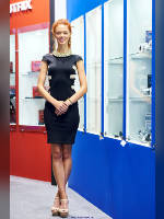 """photo from the publication """"InterAuto 15. Kaleidoscope Part 7"""", author Эдуард@fotovzglyad, Tags: [exhibitions, shoes white, above-knee dress, Interauto and MIMS, standing cross-legged, black dress, platform heels, redhead, naked legs, dress fitting, tight, slinky, events, events of 2015, car show]"""