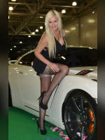 """photo from the publication """"Moscow Tuning Show 2012. Victoria"""", author Иван, Tags: [exhibitions, Moscow Tuning Show, pantyhose (tights) black, cleavage, events of 2012, car, blonde, Victoria (Vic) Yevtushenko, lifting leg, events, tights with imitation stockings, car show]"""