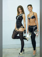 """photo from the publication """"Igromir-12. Kate and Karl"""", author Эдуард@fotovzglyad, Tags: [exhibitions, IgroMir, events of 2012, stockings black, lifting leg, events, ]"""