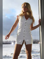 """photo from the publication """"Natasha photo shoot on Valentine's Day"""", author Вовчик, Tags: [exhibitions, pantyhose (tights) skin color, cleavage, dress white, , Natalya (Natasha) Yurik, blonde, high slit, pantyhose (tights) with glitter, Staged photography, uniform, dress very short (mini-dress), events]"""