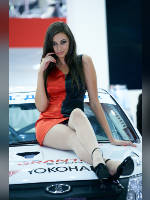 "photo from the publication ""MMAS-12. Yokohama. Galina."", author Эдуард@fotovzglyad, Tags: [exhibitions, pantyhose (tights) skin color, short dress, shoes black, heels, Moscow International Motor Show, events of 2012, Galina (Galya) Hecht (Garanina), sitting legs crossed, events, girls Yokohama, white breeches, sitting on the hood, car show]"
