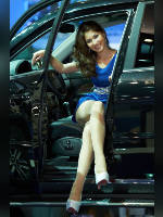 """photo from the publication """"MMAS-12. SsangYong. Elsa."""", author Эдуард@fotovzglyad, Tags: [exhibitions, pantyhose (tights) skin color, short dress, heels, Moscow International Motor Show, shoes white, events of 2012, car, dress blue, Elsa Imamova, events, SsangYong girls, car show]"""